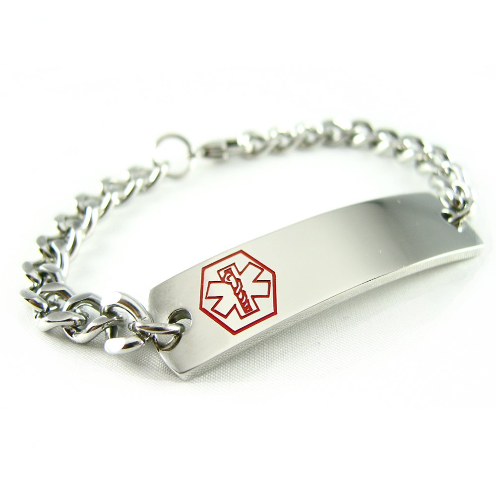 Steel Curb Chain Made in USA Medical ID Bracelet Mens /& Womens My Identity Doctor
