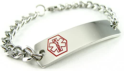 My Identity Doctor Steel Raindrop Red Symbol Pre-Engraved /& Customized Celiac Disease Medical Bracelet