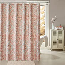 JLA Home INC Grace Pattern Cotton Fabric Long Shower Curtain, Medallion Casual Shower Curtains for Bathroom, 72 X 72, Coral