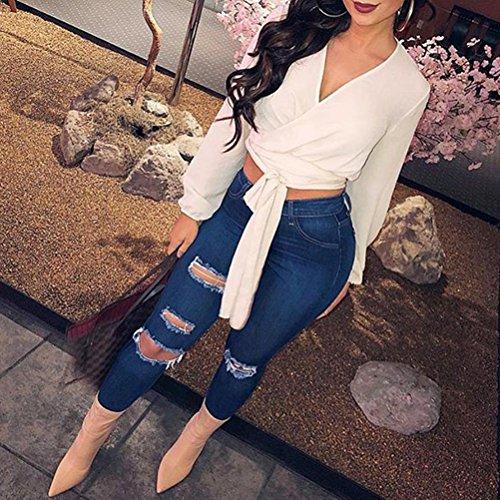 Up Push Denim Jeans Un Zhhlinyuan pas Femme Cher Maigre Dtruit pour Lavage Boyfriend Trou 3 Stretch Blue Style Pantalon Mode YTaqp