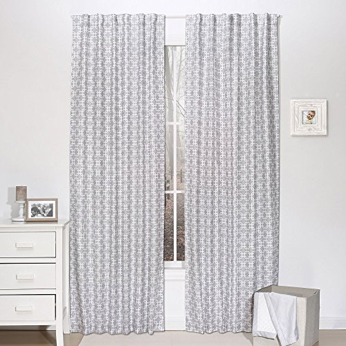 Gray Geometric Print Blackout Window Drapery Panels - Two 84 by 42 Inch Panels