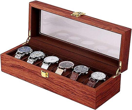 CUUYQ Madera Cajas para Relojes, Estuche para Relojes Porta Relojes con Ventana Transparente Relojes Almacenamiento Caja Estuche para Joyeros 6 Ranuras,Rosewood: Amazon.es: Hogar