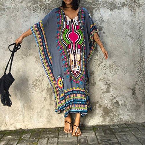 QIYUN.Z Mujeres Batwing Manga V-Cuello Impreso Dashiki Vestido Largo Sundress Playa Casual Gris