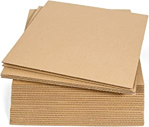 Sodaxx (Qty 25) Corrugated Cardboard Sheets 12 x 12 Inches Kraft Brown Flat Card Board Sheets, Paper Cardboard Inserts for Packing, Mailing, Crafts, Square Size