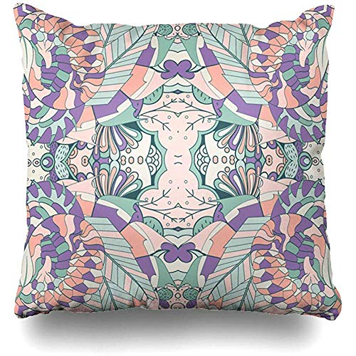 Throw Pillow Covers Decorative Intricate Asian Tracery Calming Pattern Mehendi Abstract Mehandi Back Bandanna Batik Design Oriental Home Decor Pillowcase Square Size 18