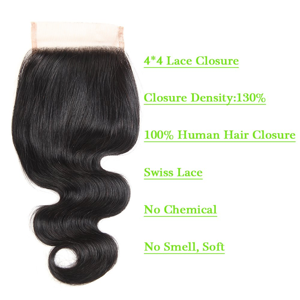 Brazilian Body Wave Closure Unprocessed Human Hair Lace Closure (4X4) Natural Black Color 10Inch by Grand Nature (Image #2)