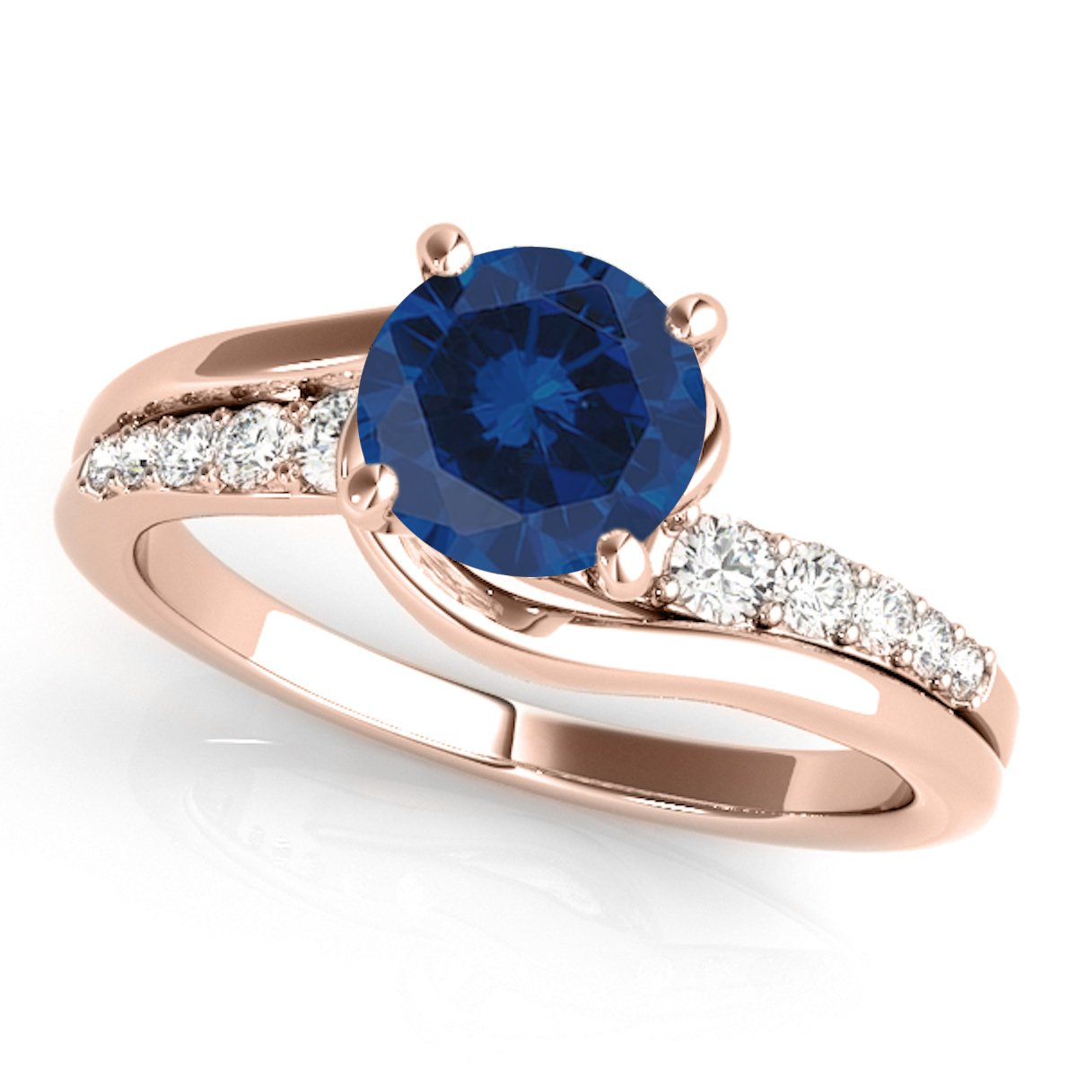 1.15 Ct. Halo Sapphire And Diamond Engagement Ring Crafted In 14k Solid Rose Gold