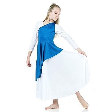 c16b93ce02a5 Amazon.com: Danzcue Girl's Asymmetrical Praise Dance Tunic, Bright Royal,  L-XL-Child: Clothing