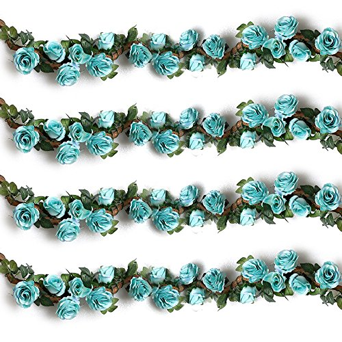 Rose Blue Flower (YILIYAJIA 4PCS(28.8 FT) Artificial Rose Vines Fake Silk Flowers Rose Garlands Hanging Rose Ivy Plants for Wedding Home Office Arch Arrangement Decoration (blue))