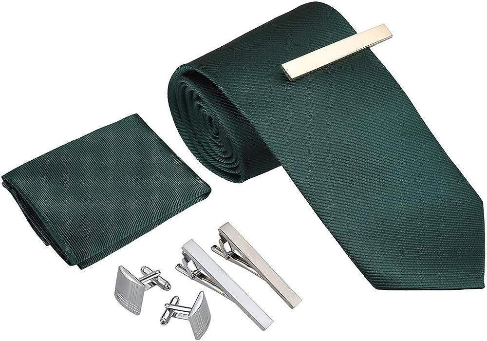 Rovtop Corbatas de Hombre Regalo Conjunto - Set de Corbata Hombre Simulación Cosidas a Mano de Seda con Corbata, Pañuelo, 1 par Gemelos Cuadrados, 3 Clips de Corbata