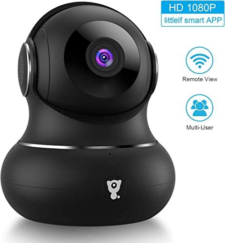 Updated Version Indoor Home Security Camera, Littlelf 1080p 2.4G WiFi Camera with Smart Motion Tracking Detection, 2-Way Audio, Night Vision and Cloud Service, Compatible with Alexa Black