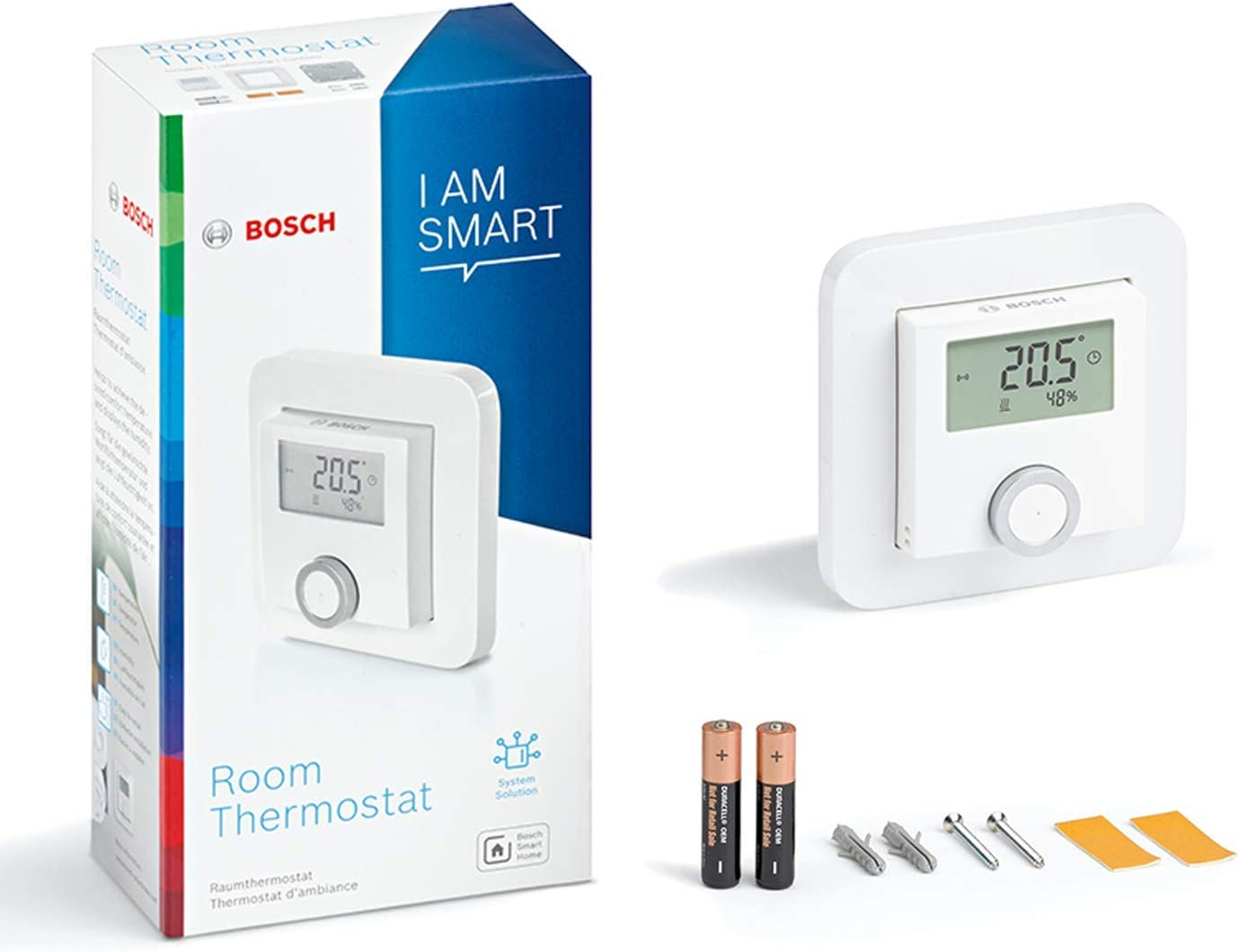 Thermostat dambiance Bosch Smart Home avec 2 piles AAA pour thermostat de radiateur avec indicateur dhumidit/é dans le carton 1,5 V