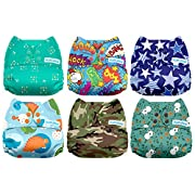 Mama Koala One Size Baby Washable Reusable Pocket Cloth Diapers, 6 Pack with 6 One Size Microfiber Inserts (Mr. Adorable)