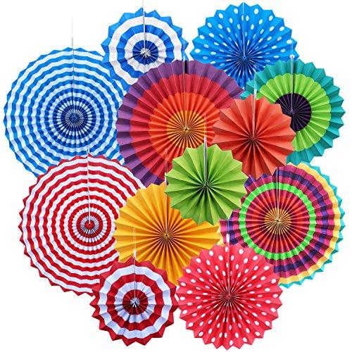 12x Round Wheel Hanging Fiesta Paper Fan Decorations, Yotako Hanging Paper Rosette Backdrop Paper Medallions Paper Pinwheels Fan for Wedding Party Baby Shower First Birthday Wall -
