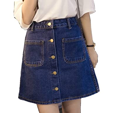 Aiyig Women Girls High Waist A-Line Button-Front Denim Mini Skirt ...