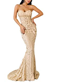LinlinQ Womens Sexy Off Shoulder Bustier Glitter Floor-Length Prom Gown Dress Gold L
