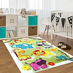 Ladole Rugs Adorable Animals on Grass Theme Area Rug Carpet for Kids Bedroom Playroom, 5x8