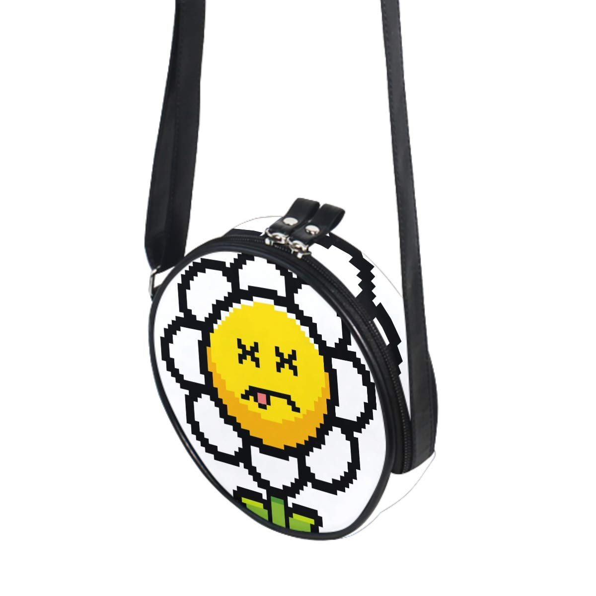 Cartoon Sunflower Small Round Canvas Crossbody Messenger Bags for Women