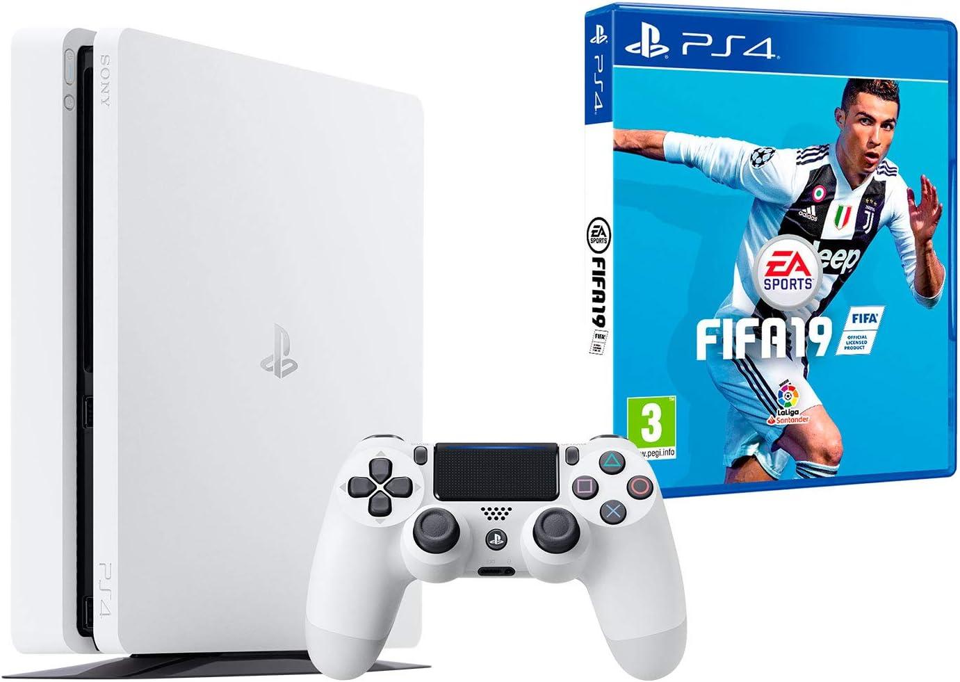 PS4 Slim 500Gb Blanca Playstation 4 Consola + FIFA 19: Amazon.es ...