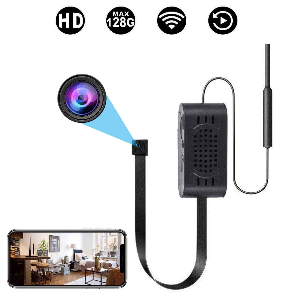 Spy Camera WiFi Hidden Cameras with Motion Detection, Mini Wireless Remote Live View with Free Phone App Full HD 1080P, Easy Setup Security Cam for Home, Nanny, Car, Office, Room, Indoor, Outdoor by TAOZHI