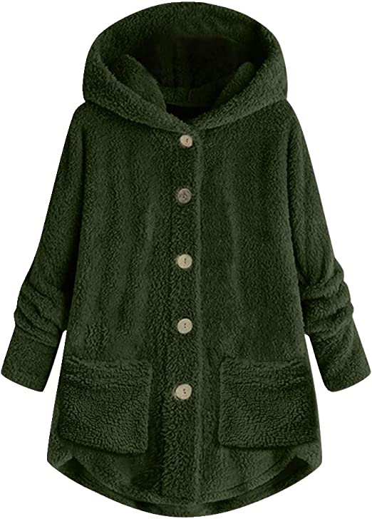 Women Double-faced Fleece Jacket Medium Loose Long Warm Plush Hooded Coat