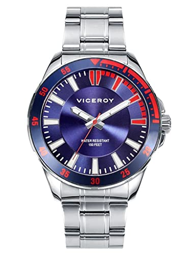 Reloj Viceroy Hombre 432335-37 Acero Esfera Azul Sumergible: Amazon.es: Relojes