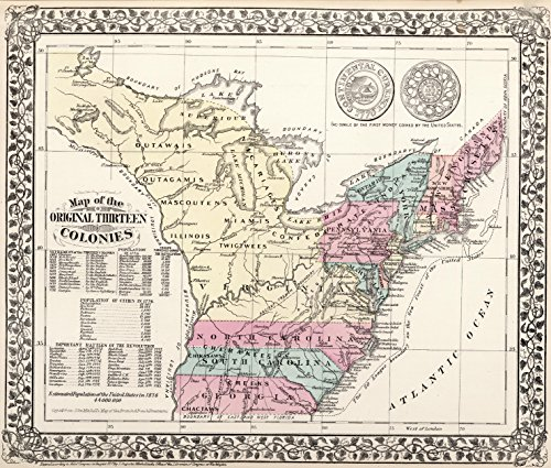"""Map Poster - Map of the Original Thirteen Colonies - 24""""x..."""