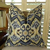 Thomas Collection Designer Zig Zag Ikat Throw Pillow, Navy Blue Tan Indigo Ikat Accent Pillow, Wavy Ikat Throw Pillow, Modern Ikat Pillow, COVER ONLY, NO INSERT, Made in America, 11082
