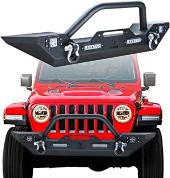 Vijay Jeep Wrangler Front Bumper With 4 LED Lights For 2018-2019 Jeep Wrangler JL /& Unlimited