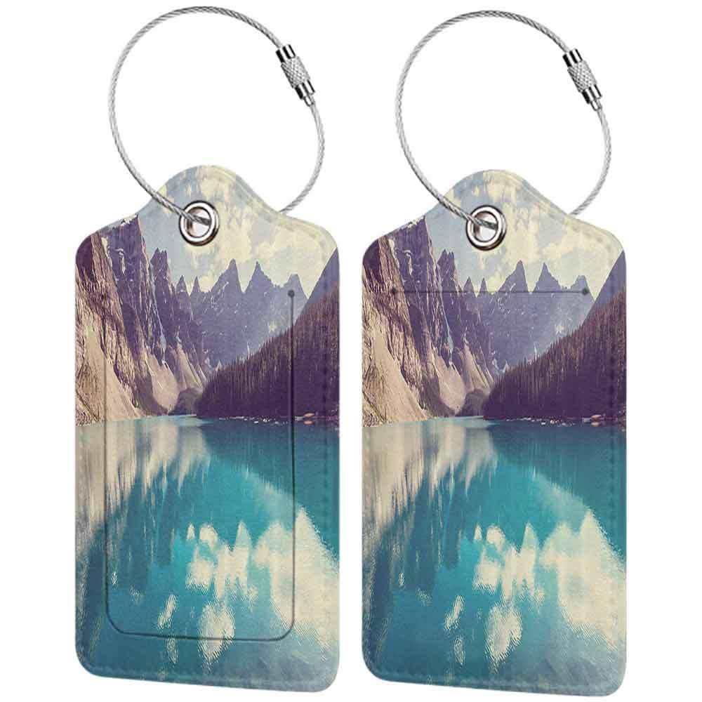Mountains Lake Park Nature Leather Luggage Tags Suitcase Tag Travel Bag Labels With Privacy Cover For Men Women 2 Pack 4 Pack