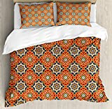Arabian Duvet Cover Set by Ambesonne, Arabesque Islamic Geometric Oriental Ethnic Patterns and Motifs with Vintage Artful, 3 Piece Bedding Set with Pillow Shams, King Size, Multicolor