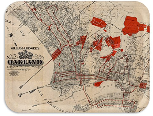 Trays4Us Oakland 1889 Vintage Map Birch Wood Veneer for sale  Delivered anywhere in USA