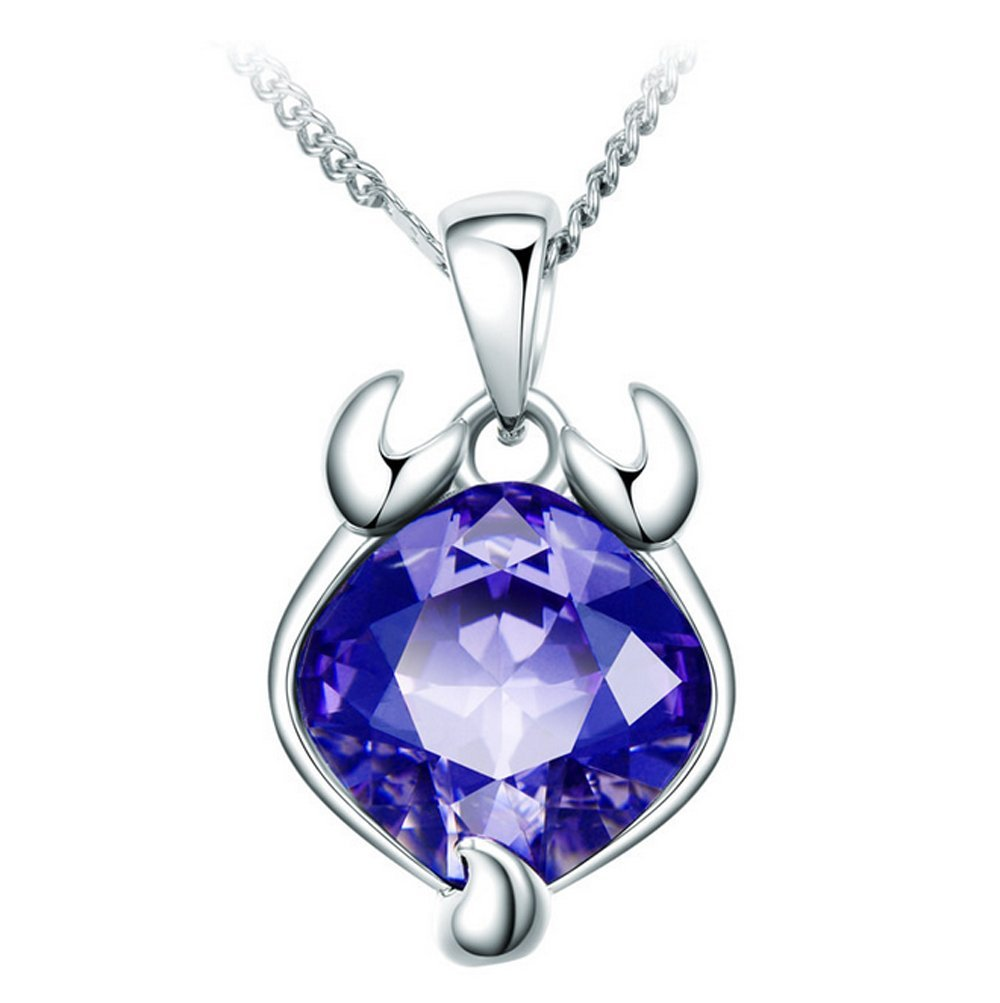 The Starry Night Purple Crystal Twelve Constellations Scorpio Shining 18.11'' Silver Necklace