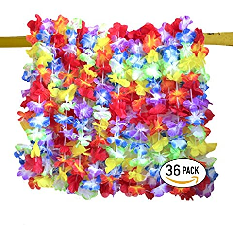 Leis Quality Pack (36) - Tropical Colorful Floral Blast - PARTY READY - Fun Size for Everyone - Hawaiian Luau Garland Favors - 3 (Aloha Island Resort)