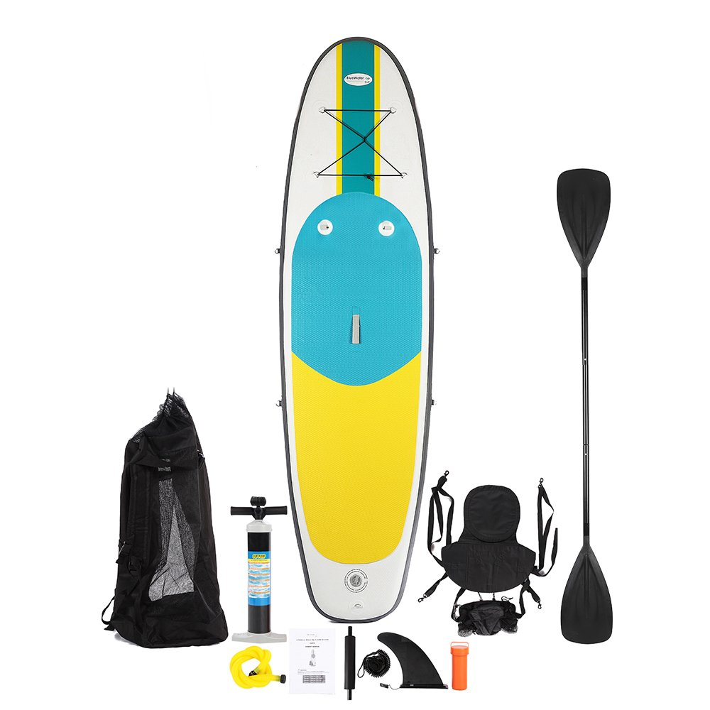 Blue Water SUP Kayak Crossover  10' Premium Inflatable Stand Up Paddle Board/Kayak   32 Inch Width/11-piece Accessory Kit/Non-Slip Deck/6 Inches Thick   Youth & Adult Standing/Sitting Boat
