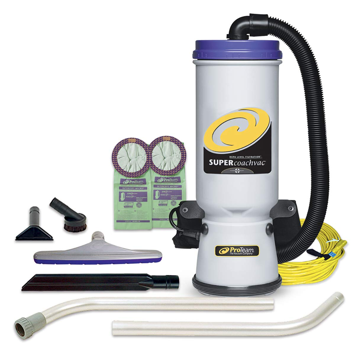 ProTeam Commercial Backpack Vacuum, Super CoachVac Vacuum Backpack with HEPA Media Filtration and Xover Multi