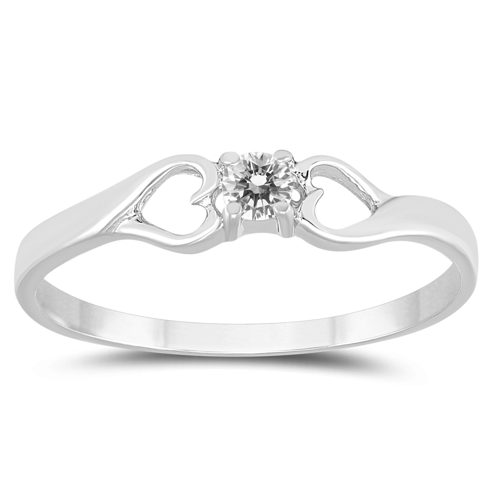 AGS Certified 1/10 Carat TW Diamond Heart Promise Ring in 10K White Gold by Szul
