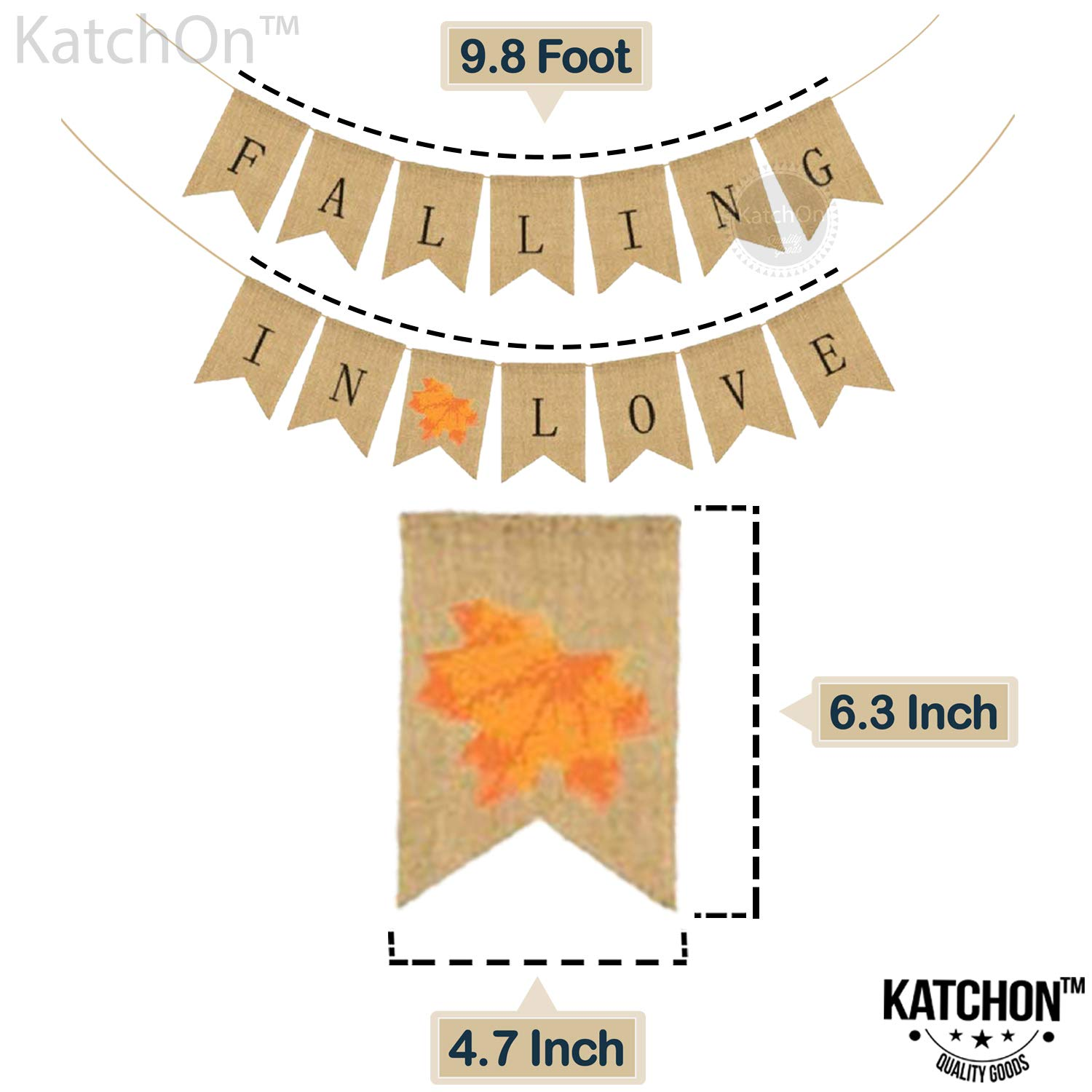Thanksgiving Day Decorations Anniversary Valentines No DIY Required Great for Bridal Baby Shower Maple Leaf Vintage Retro Style Home Office Decor Accessories Falling In Love Burlap Banner