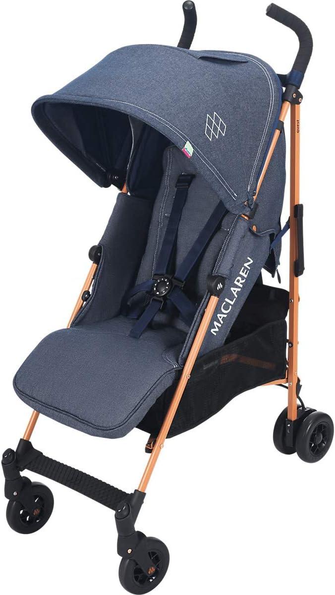 Maclaren Quest - Silla de paseo para bebé, asiento multiposición, capota extensible con UPF 50+, suspensión en las 4 ruedas, hasta los 25kg, color denim indigo
