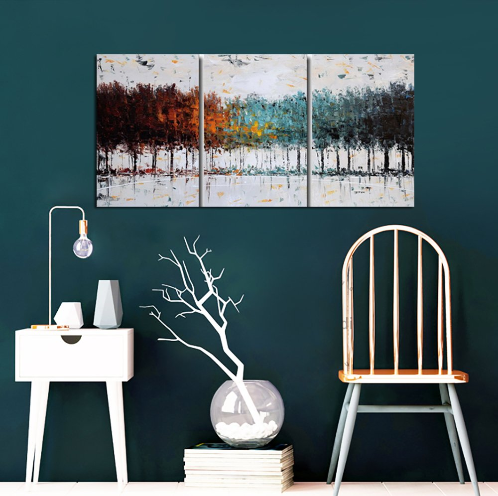 Gardenia Art Colorful Forest Abstract Art 100% Hand Painted Contemporary Oil Paintings,Modern Artwork Wall Art for Room Decoration,3 Pcs/Set,16x24 inch,Framed and Stretched