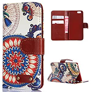 For iphone5 5S Case, FocusUp Apple iphone 5 5S Wallet Case Cover With Folio Flip Magnetic Strap PU Leather Card Slot Stand Function Protection Unique Floral Painted