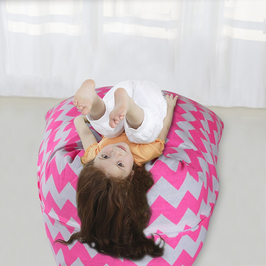 YellowPin 2pc Stuffed Animal Bean Bag Storage Lounger Chair Round Ottoman Value Set by YellowPin (Image #3)