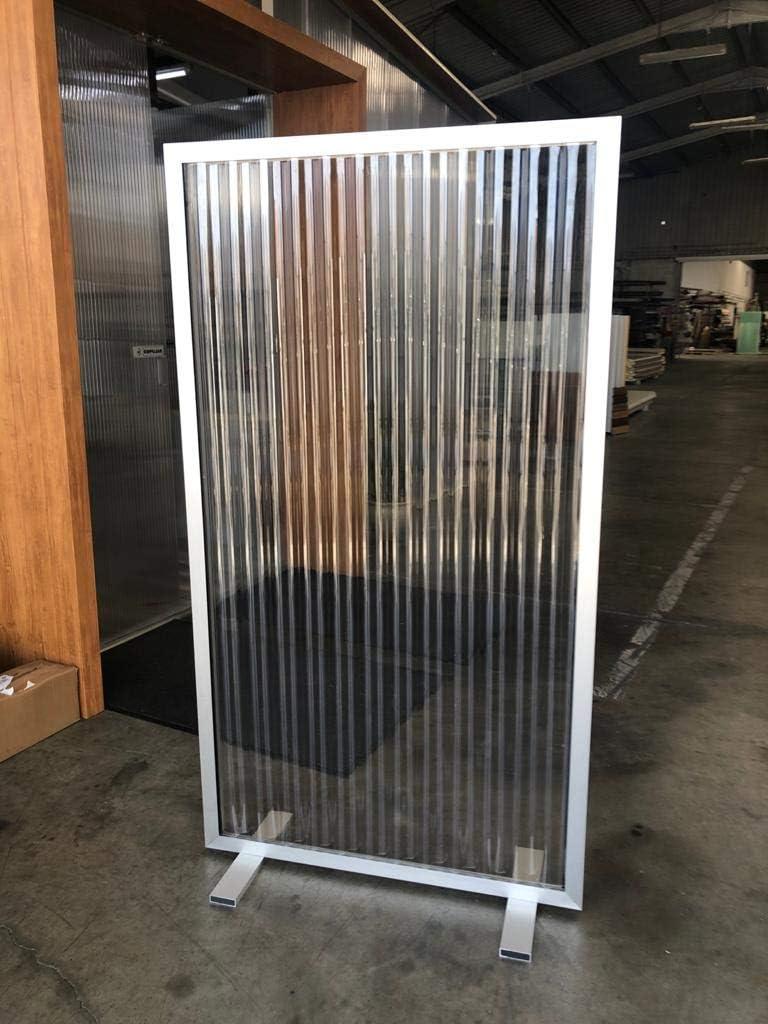 Separador de protección Simple fabricado en Aluminio y Policarbonato Ondulado Transparente, 100x180 cm de altura (Plata): Amazon.es: Jardín