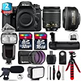 Holiday Saving Bundle for D7500 DSLR Camera + 35mm 1.8G DX Lens + AF-P 18-55mm + Flash with LCD Display + Battery Grip + Shotgun Microphone + LED Kit + 2yr Extended Warranty - International Version