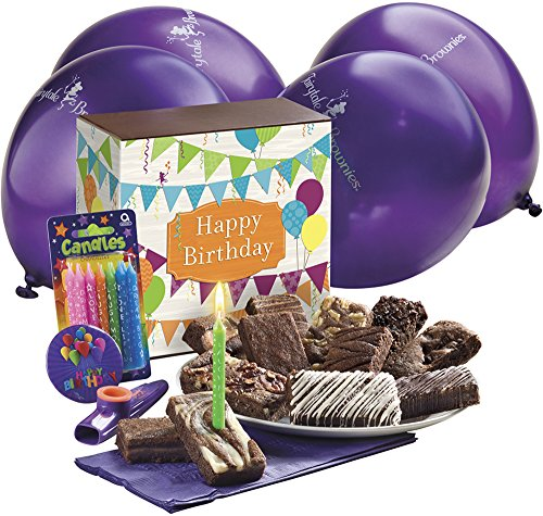 Fairytale Brownies Birthday Surprise Gourmet Food Gift Basket Chocolate Box - 3 Inch x 1.5 Inch Snack-Size Brownies - 19 Pieces