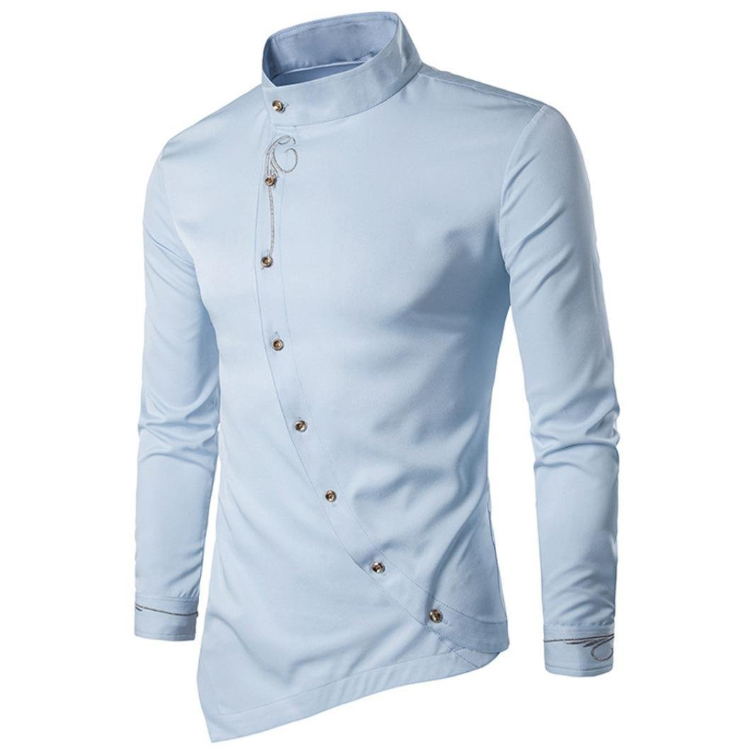 iLXHD Mens Casual Silm Fit Long Sleeve Shirt Blouse Tops Embroidery T-Shirt(Light Blue,XL)