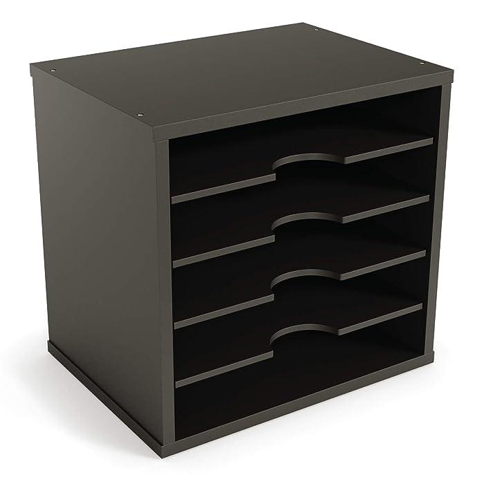 "Ballucci File Organizer Paper Sorter, 5 Tier Adjustable Shelves Office Desk Organizer, 12 1/2"" x 9 1/4"" x 12"", Black"