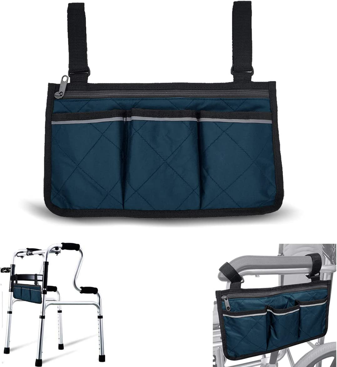 Wheelchair Side Bags, Armrest Accessories to Hang on Side with Bright Line Waterproof Blue Walker Storage Pouches for Home/Outdoor/Baby Cart (Blue Side)