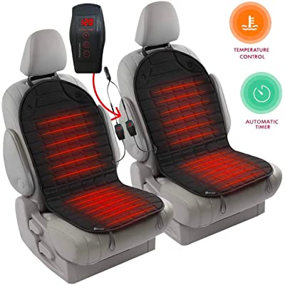 Zento Deals 2pc. Black Heated Car Seat Cushion with 1 Integrated Plug Adjustable Temperature Heating Pad Pain Reliever 12V- New Upgraded Version for 2020, Safer Nonflammable UL Wiring: Automotive