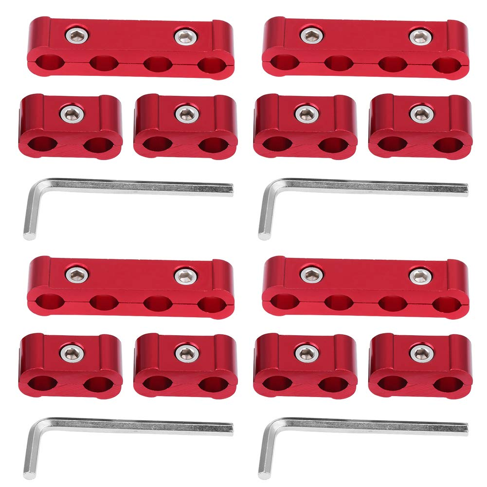 KIMISS 12Pcs Separadors del alambre de la bujía del motor de la aleación de aluminio - 8mm 9mm 10mm Divisors del coche(Rojo): Amazon.es: Coche y moto